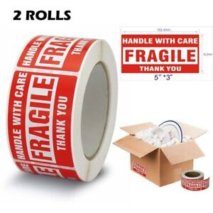 2 Rolls 500 roll 3x5 Fragile Stickers Address Shipping Labels Handle With Care