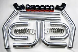 Universal High Quality 2 5 Intercooler 8pc U Piping Kit Aluminum Blck For Honda