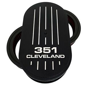 Ford 351 Cleveland 15 Oval Air Cleaner Kit Black Die cast Aluminum Ansen Usa