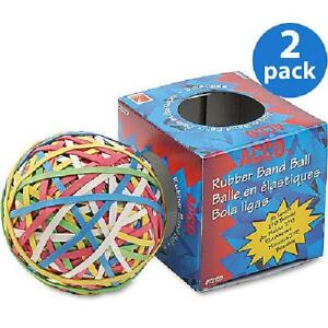 2 Pack Acco Rubber Band Ball 275 Bands Per Ball Assorted Colors 1 box