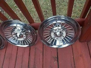 Vtg 1957 Ford Hubcaps Wheel Covers Set Of Four Exceptional