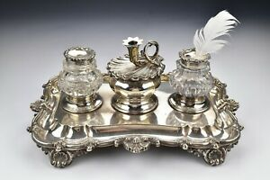 English Sterling Silver Desk Set By Robinson Edkins Aston