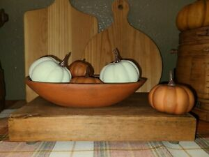 Primitive Farmhouse Country Old Small Trencher Wooden Dough Bowl Burnt Orange