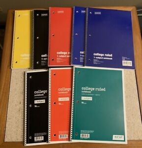 Staples 1 subject Notebook 8 X 10 5 College Ruled 70 Sh Assorted Lot Of 8