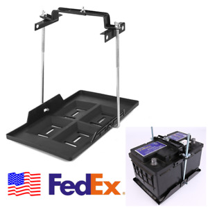 Us Adjustable Car Battery Mount Tray Lead Acid Battery Holder Base Bracket Clamp