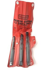 New 3pc Drill Set Morse Taper 2 Shank Twist 1 2 5 8 3 4 Super Sharp Hss 2mt