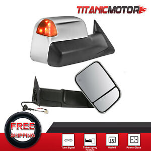 Left Right Chrome Power Heated Towing Mirrors For Dodge Ram 1500 2500 3500