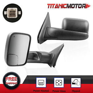 Passenger Driver Power Heated Tow Mirrors For 03 08 Dodge Ram 1500 2500 3500
