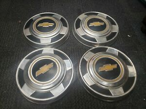 Vintage Set Of 4 Chevrolet Truck Dog Dish Hub Cap Wheel Covers 1970s Oem Used