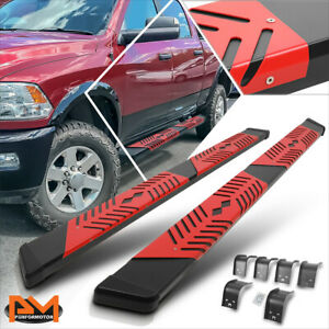 For 09 20 Dodge Ram 1500 3500 Quad Cab 5 5 Black Running Boards W Red Step Pad