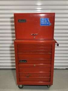 Snap On 2 Piece Tool Cabinet 9 Drawer Top 8 Drawer Bottom With Original Keys
