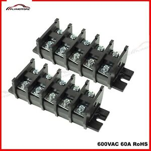 Industrial Double Row 60a 600vac Terminal Block 10 Positions 8 To 18 Awg Gauge