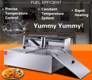 5000w Electric Fryer Deep Dual Tank Commercial Basket Fry Family Us Stock