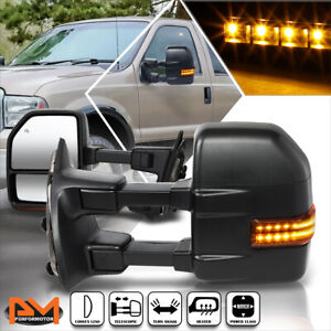 For 99 07 Ford Super Duty Powered Heated Black Towing Mirror W Led Signal Lamp