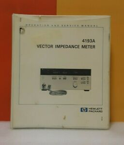 Hp 04193 90000 4193a Vector Impedance Meter Operation And Service Manual