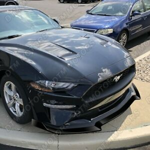 For 2018 2020 Ford Mustang Painted Black Gt Style Front Bumper Body Kit Lip 3pcs