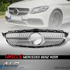 For 2015 18 Mercedes Benz W205 C Class C250 C300 C400 Front Grille Diamond Grill