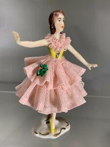 Vintage Dresden Pink Lace Porcelain With Flowers Dancing Girl Figurine