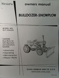 Sears Custom Xl Compact Garden Tractor Dirt Snow Plow Blade Owner Parts Manual