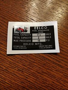 Genuine Eelco 1 1 2 Fuel Tank Data Decal Gasser Fit Moon Official Reproduction