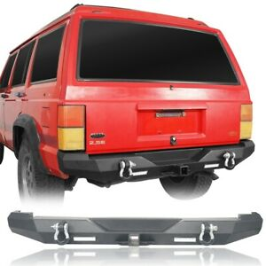 For Jeep Cherokee Xj 1984 2001 Black Discovery Back Rear Bumper W 2xled Lights
