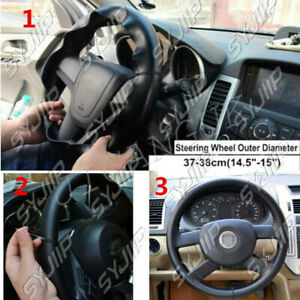 Diy Car Truck Leather Steering Wheel Cover With Needles And Thread Red 38cm 15