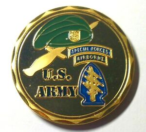 Green Beret Special Forces Airborne Liber Engravable Challenge Coin $12.01