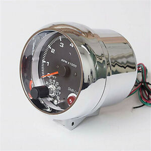 Chrome 3 3 4 Analog Car Tachometer Gauge Tacho Revolution 8000 Rpm Shift Light
