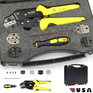 Wire Crimper Pliers Ratcheting Insulated Cable Connectors Terminal Crimping Tool