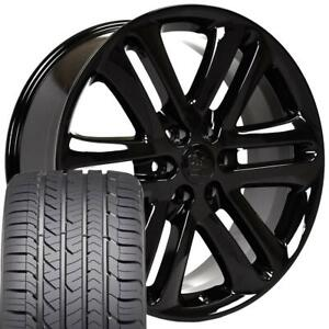 22x9 Wheel Tire Fits Ford Trucks F150 Style Black Rims W gy Tires 3918 Cp