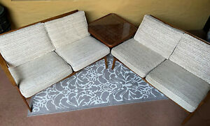 Mid Century Danish Modern Spindle Back Walnut Upholstered 2 Piece Sectional Sofa