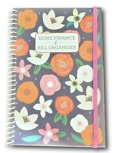 Home Finance Bill Organizer With Pockets pink Flowers On Black