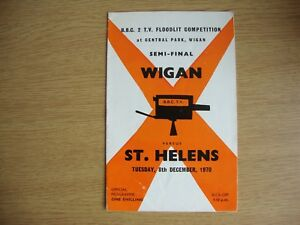 1970 1 Wigan v St. Helens BBC Floodlit Competition Semi Final @ Wigan GBP 1.39