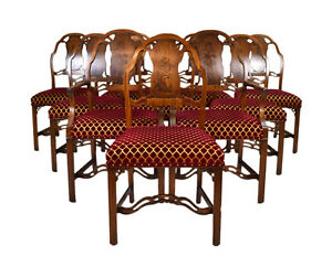 Set 10 Robert Irwin Co Mahogany Marquetry Art Nouveau Art Moderne Dining Chairs