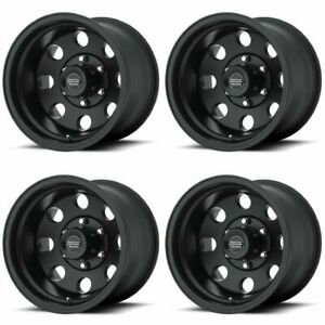 Set 4 15x7 American Racing Ar172 Baja Black Rims 5x4 5 6mm For Ford W Lugs