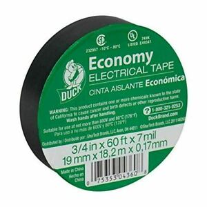 Duck 299006 Utility Vinyl Electrical Tape 3 4 Inch X 60 Feet Black Roll