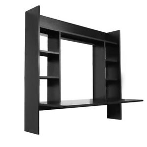 Wall Mounted Computer Desk Floating Wood Laptop Study Table Shelves Home Office