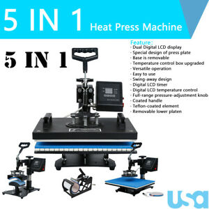 5in1 Heat Press Machine Sublimation Print Digital Transfer 12 X 15 T shirt Mug