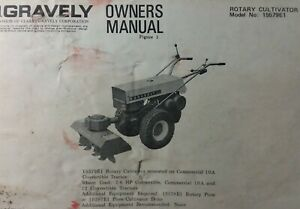 Gravely Garden Tractor Rotary Cultivator Implement Owner Parts Manual 15579e1