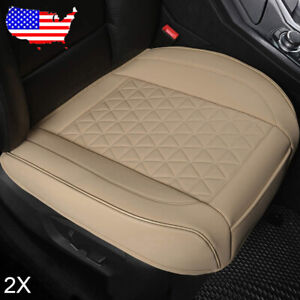 Us 2pcs Car Pu Leather Seat Cushion Diamond Pattern For Audi Benz Bmw Beige