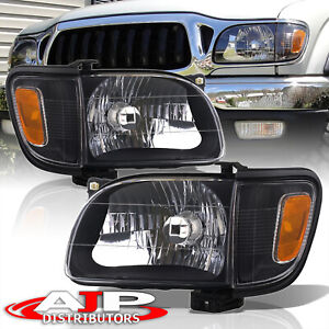 Black Replacement Head Lights Signal Corner Lamps For 2001 2004 Toyota Tacoma