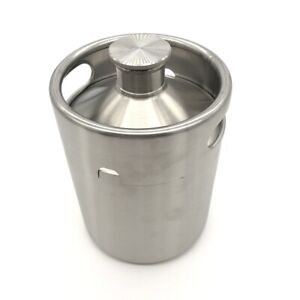 Brewhouse Keg Style Stainless Steel Beer 64 Oz Mini Keg Growler Silver