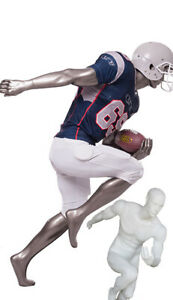5 Ft 3 In H Male Abstract Face Football Running Mannequin Matte White Sfb3w New