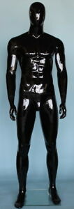 6 Ft 3 In Male Abstract Head Mannequin Glossy Black Muscular Body Shape Sfm51ehb