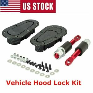 Black Racing Mount Bonnet Carbon Fiber Style Hood Pins Latch 4 Keys Locking Kit