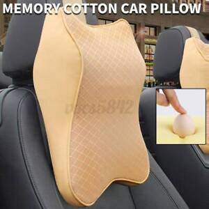 Leather Memory Foam Car Seat Pillow Head Neck Rest Support Cushion Headrest Pad