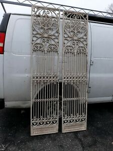 Pair Antique Wrought Cast Iron Gate Panels Possible Elevator Doors Victorian