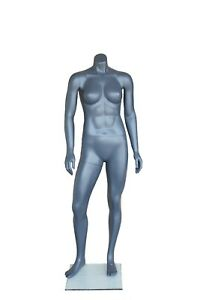 5 Ft H Athletic Headless Female Mannequin Muscular Body Matte Grey Stb1fh New