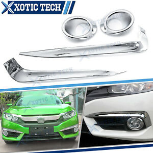 For Honda Civic 2016 2021 10th Gen Front Rear Fog Light Cover Trim Carbon Fiber