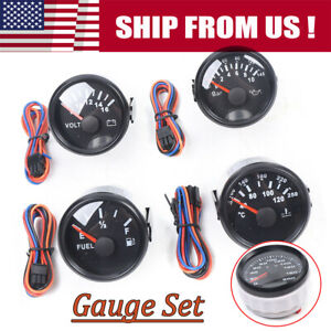 Black 6 Gauge Set 200km h Speedometer Gps Tacho Fuel Volts Oil Pressure Temp